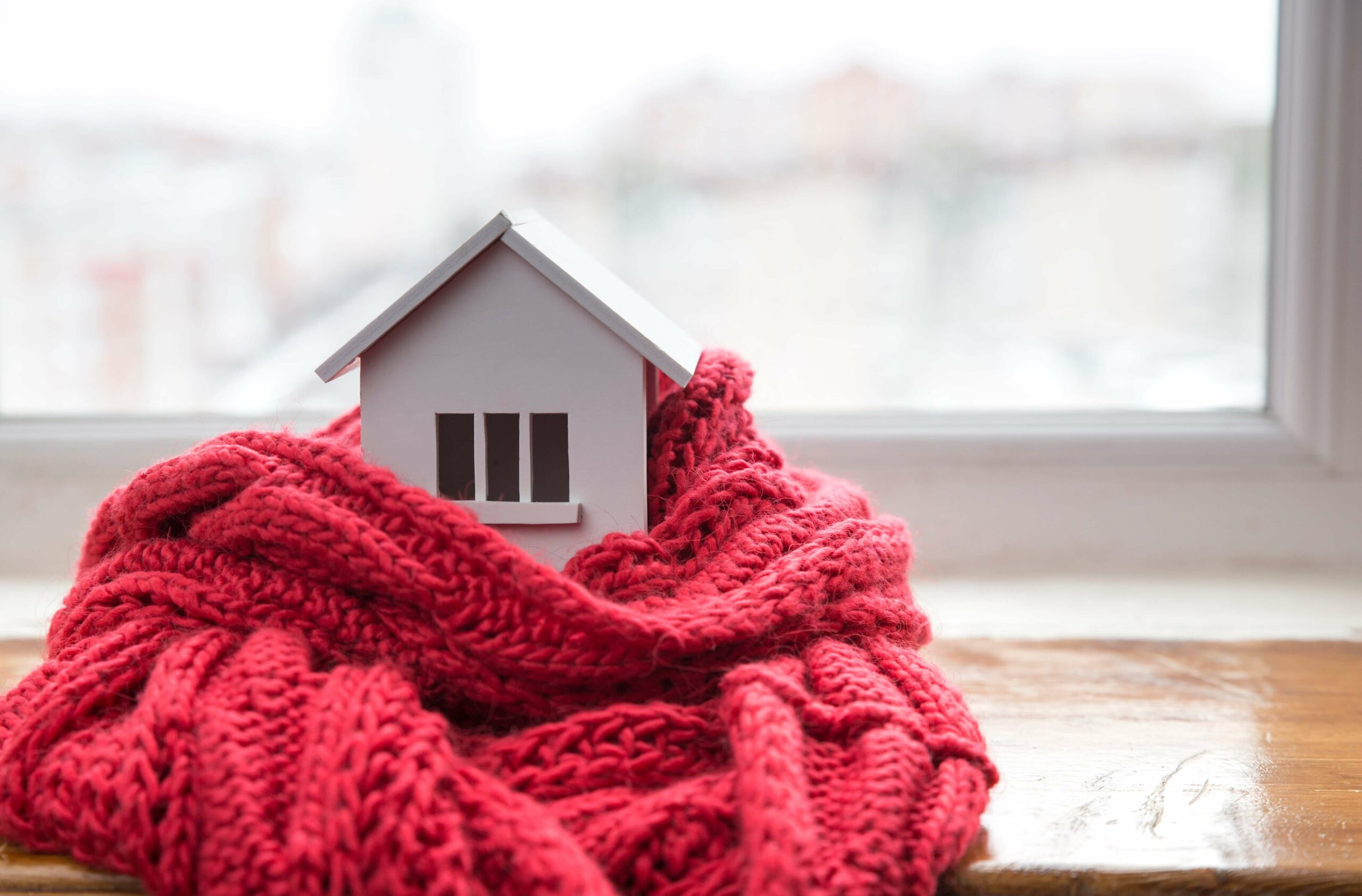 Warm red house toy