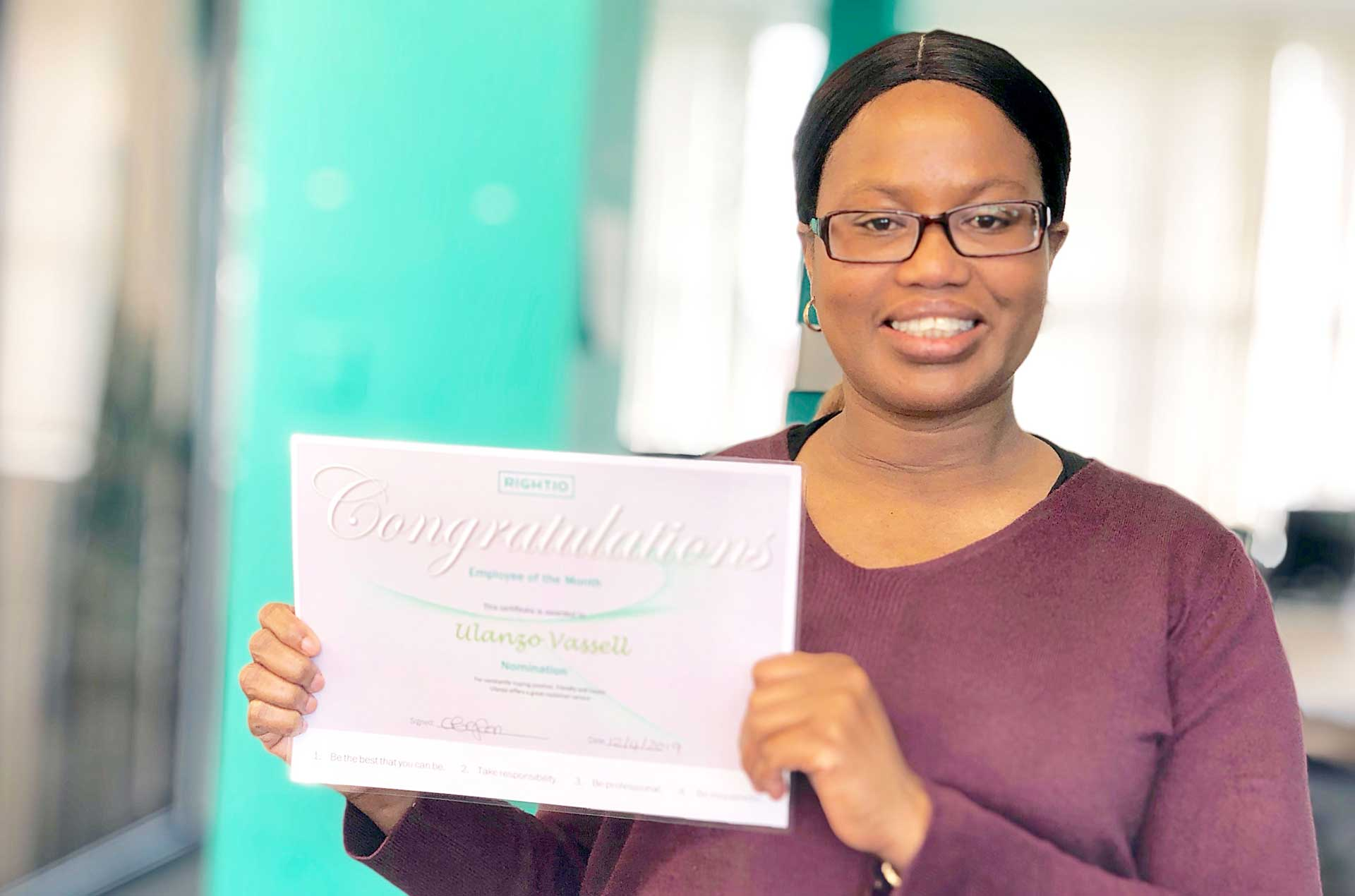 Employee of the month Ulanzo Vassell in South East London