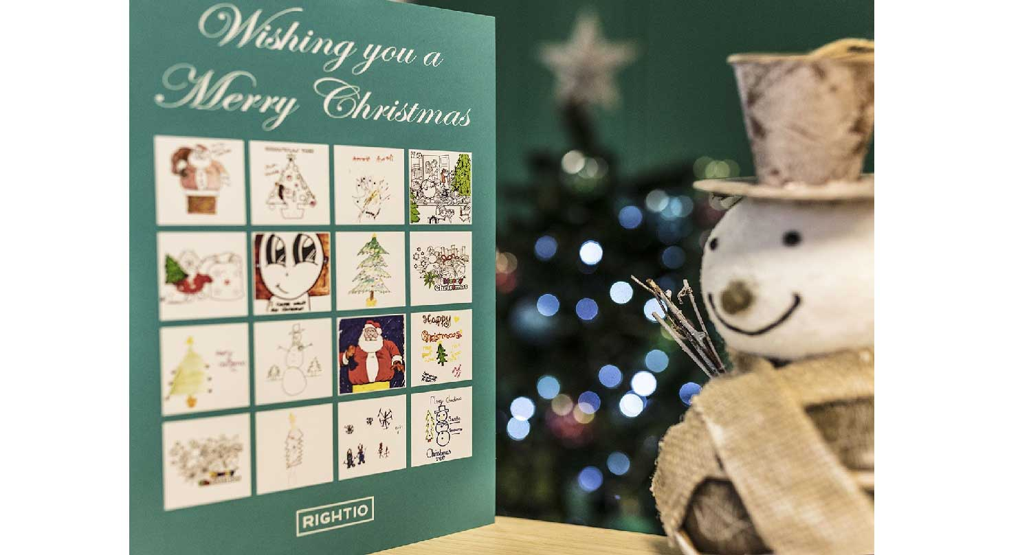 christmas card with snowman smiling