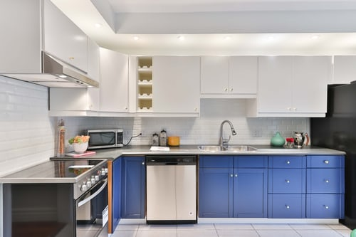 kitchen cupboards painted in teal