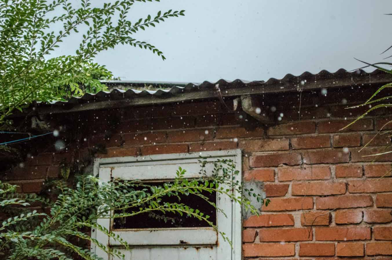 rainwater falling on the roof can damage the house